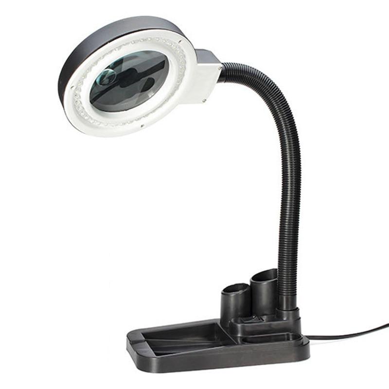 220 v, handwerk Glas Objektiv LED Schreibtisch Lupe Lampe Licht 5X 10X Vergrößerungs Desktop Lupe Reparatur Werkzeuge mit 40 LEDs Stehen (EU stecker)