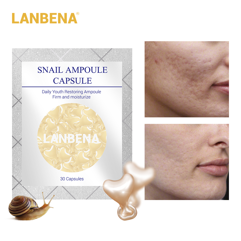 LANBENA Snail Moisturizing Ampoule Capsule Facial Cream Serum Skin Whitening Anti Aging Acne Treatment Hyaluronic Acid 30 Grain