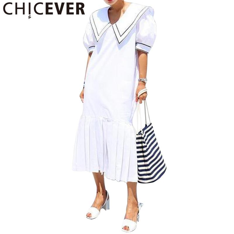 CHICEVER 2017 Short Sleeve Hem Pleated Loose Summer Dress Women Tunic Long Sleeve Dresses Female Clothes