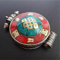 TGB207 Tibétain Noeuds Sans Fin Grand GAU Boîte de Prière Tibétain Amulette Pendentifs