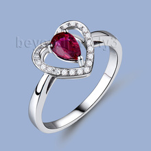 Fine Jewelry Ruby Heart Rings , 18kt White Gold white Gold Ruby And Diamond Engagement Rings, Ruby Diamond Jewelry SR10