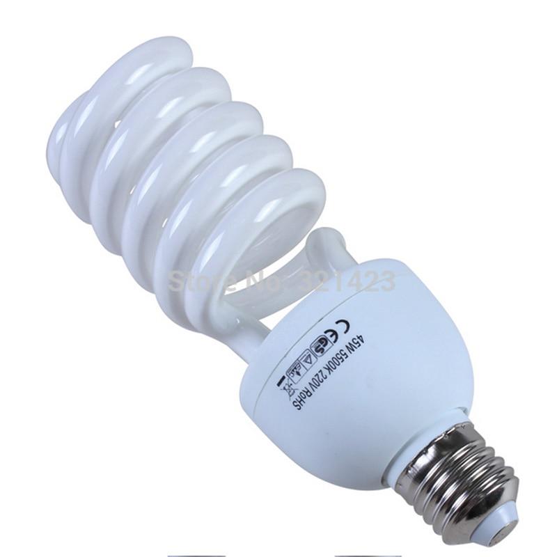Fotogrāfijas gaismas 220V 45W spuldzes fotostudija E27 lampas turētājam 5500K apgaismojums tālruņa kameras fotoattēliem