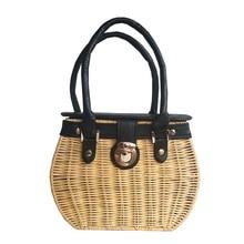 Womens handbag luxury rattan bag cotton handmade weaving 2019 summer beach designer bags for women sac main