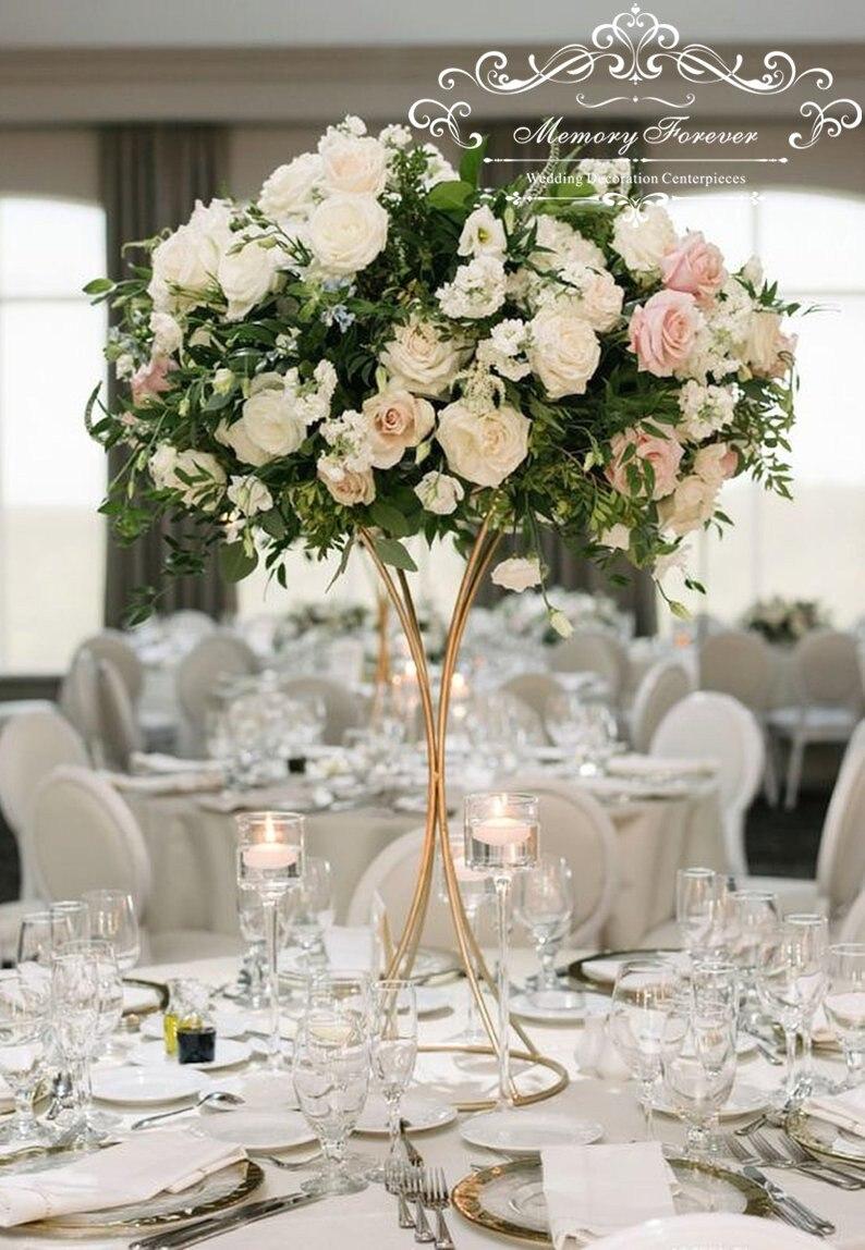 10pcs Tall Gold Geometric Trumpet Modern Wedding floral stand floral arrangements Flower stands Tall flower stands Centerpieces