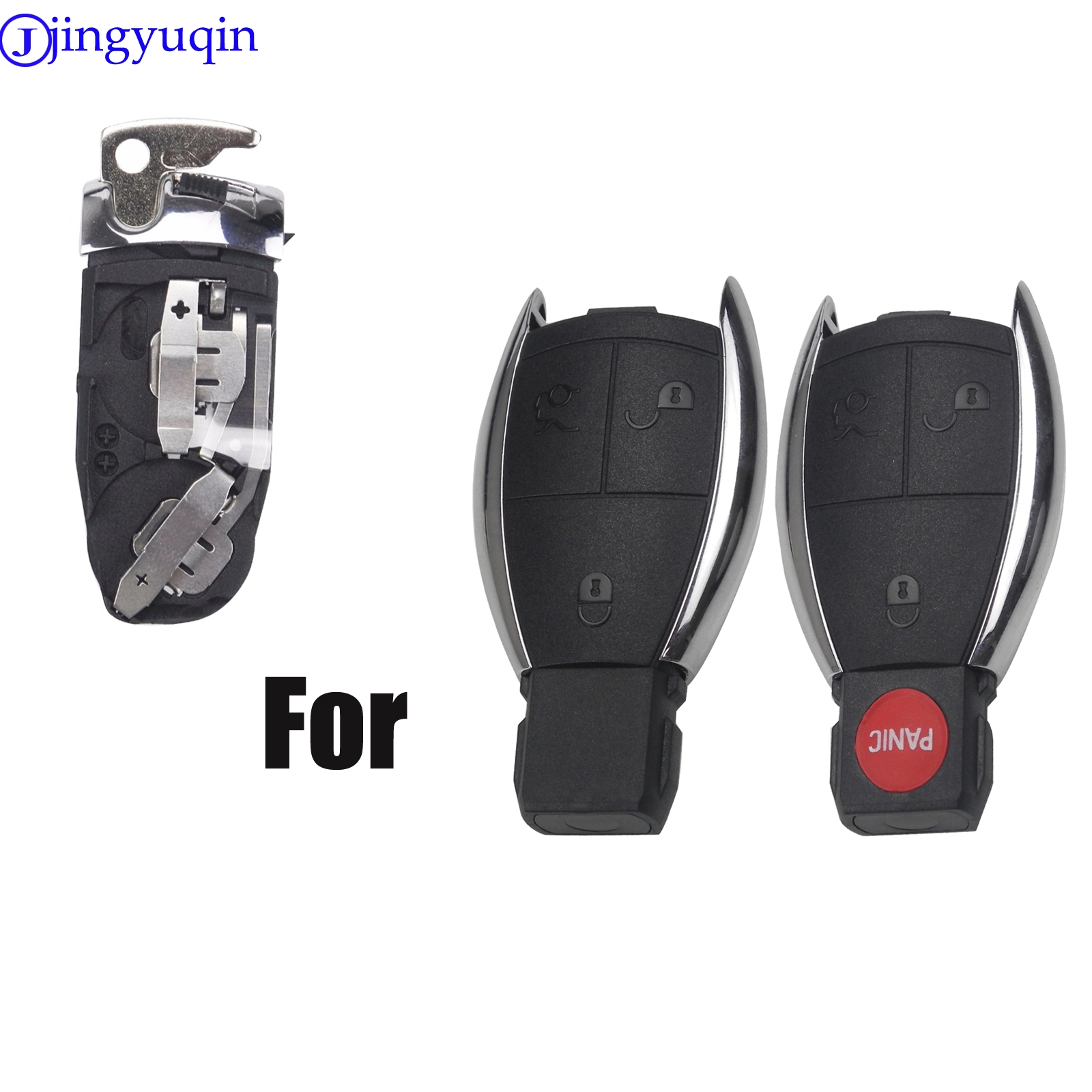 Jingyuqin Battery Holder With Small Key Shell Fob For Mercedes For Benz A B C E S CL CLS CLA CLK W203 W204 W205 W210 W211 W212