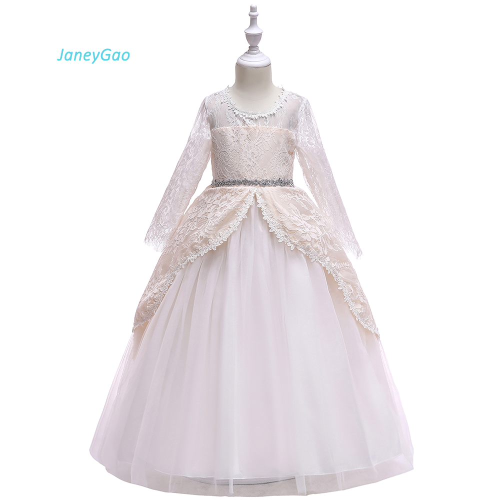 JaneyGao   Flower     Girl     Dresses   For Wedding Party Elegant Lace Teenage   Girl   Gown Pageant Long   Girl   Formal First Communion   Dresses