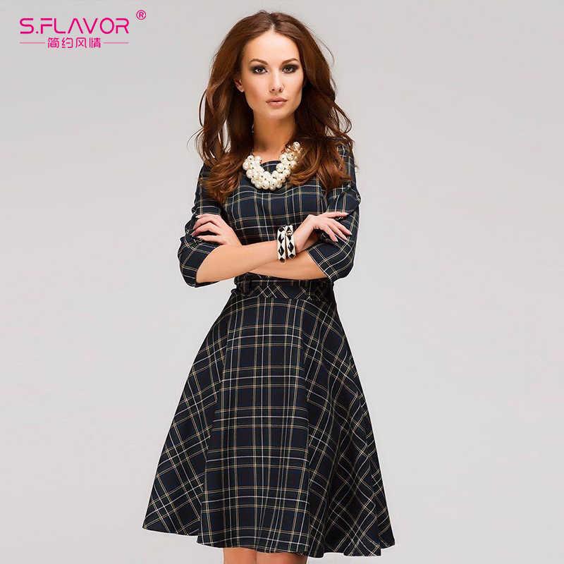S. SMAAK vrouwen Vintage Plaid mini jurk Elegante Herfst Winter O-hals korte vestidods Vrouwen Schotse stijl jurk