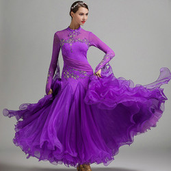 Blauw ballroom dans jurken vrouwen waltz jurk fringe standaard ballroom jurk foxtrot lichtgevende kostuums rumba jurk lange