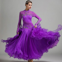 blue ballroom dance dresses women waltz dress fringe standard ballroom dress foxtrot luminous costumes rumba dress long