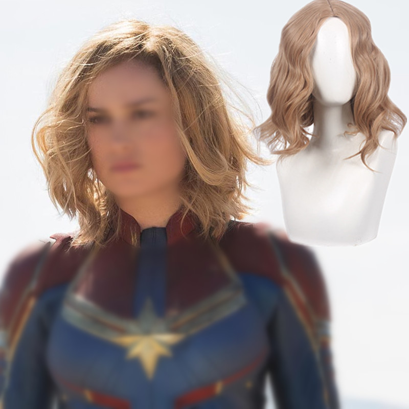 ZSQH 2019 Captain Marvel HAIR Ms Marvel hair Carol Danver Cosplay Costume Girls Halloween rompers women hair