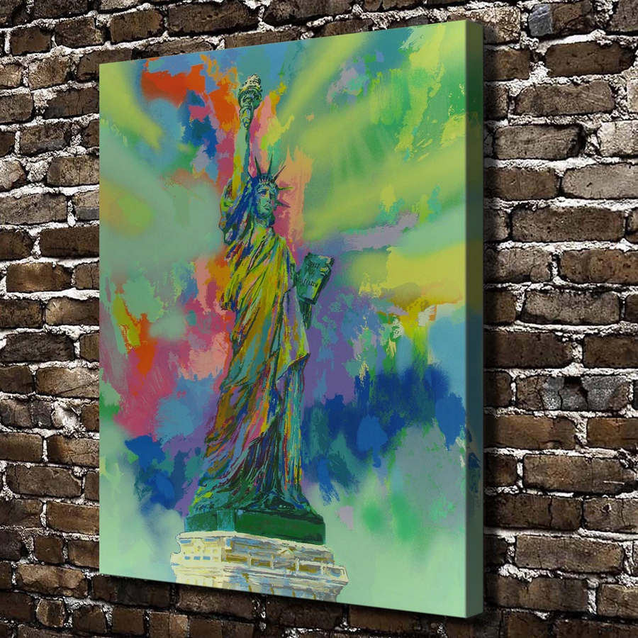 A1826 LeRoy Neiman Colorful Abstract Statue Landscape ,HD Canvas Print Home decoration Living Room Wall pictures Art painting