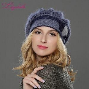 Image 5 - LILIYABAIHE חדש סגנון נשים חורף כובע סרוג צמר אנגורה כומתה קלאסי טלאים של מינק פרח קישוט כובע כפול כובע חם