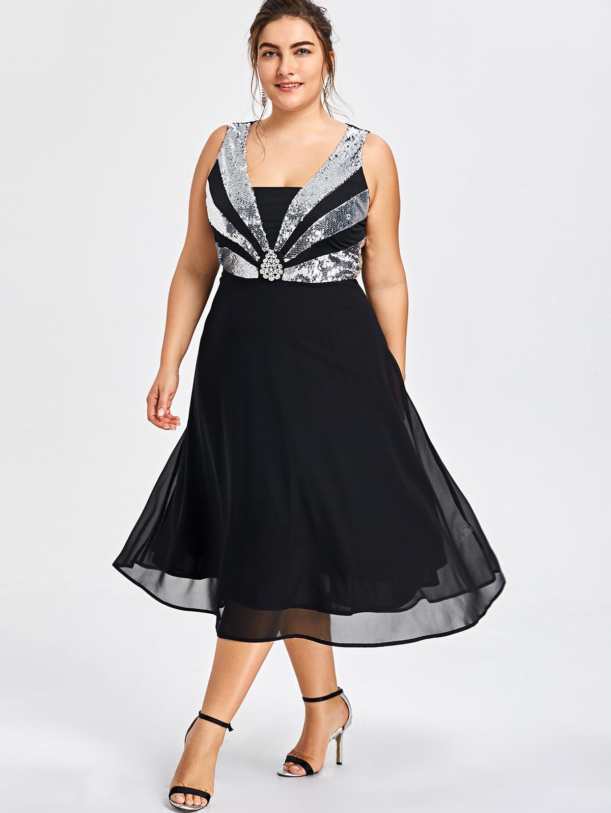 AZULINA Plus Größe Glittery Flowy Party Kleid Frauen Pailletten ...