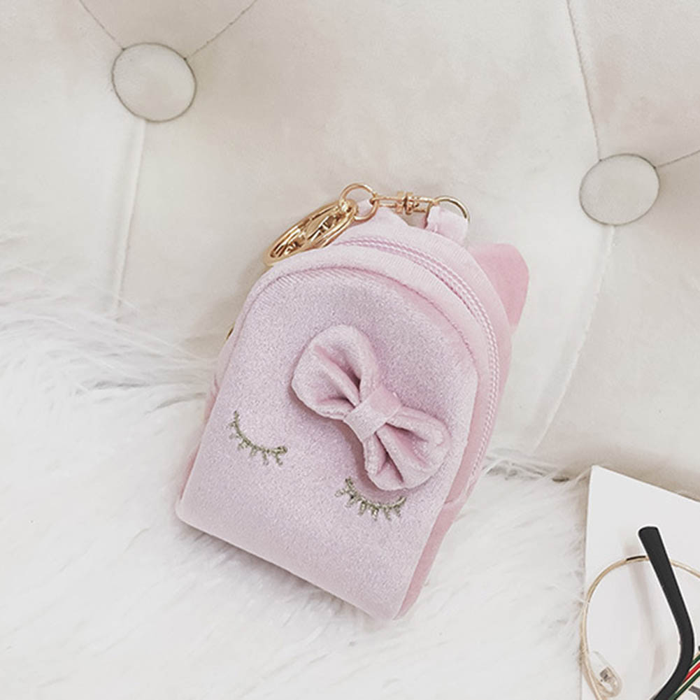 Korean Mini Coin Bag With Keyring PU Leather Purse Cute Cat Wallet Card Holder Bowknot Sweet Girl Casual Money Bags BS88