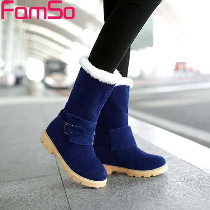 Free shipping 2016 New Sexy font b Women b font half Boots Winter Snow Boots Buckle