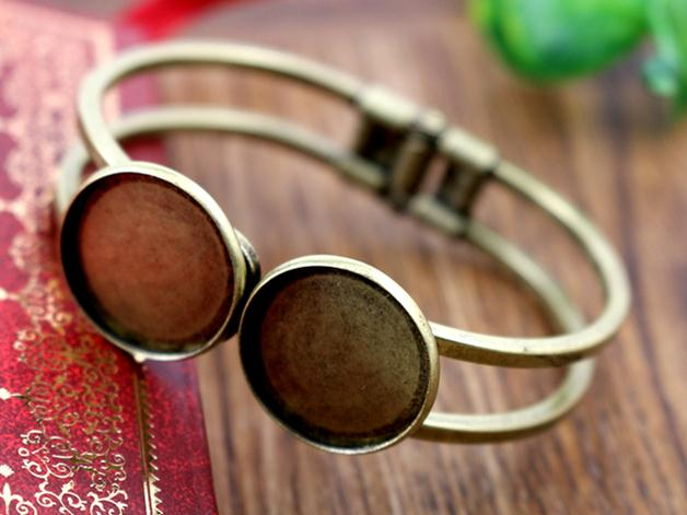 High Quality  20mm Bronze Plated Bangle Base Bracelet Blank Findings Tray Bezel Setting Cabochon Cameo  (L6-10)