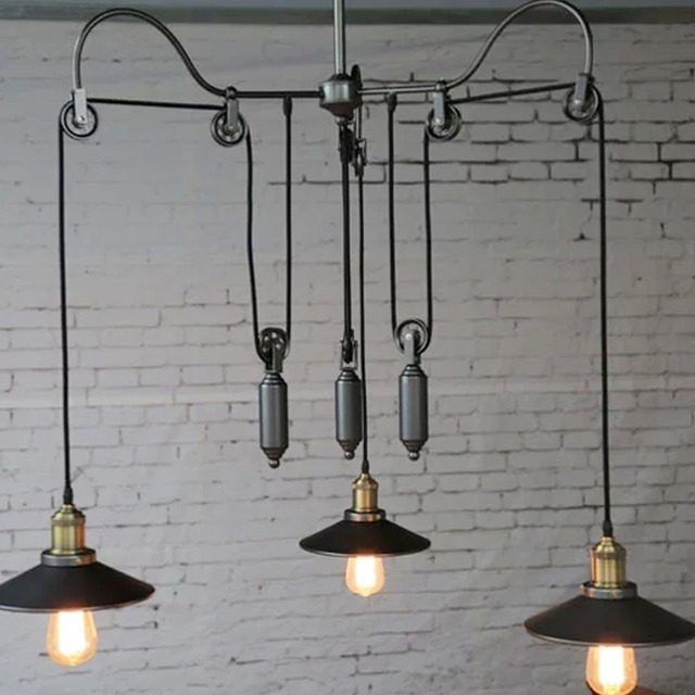 Classic Black American Country Industrial Pendant Lights Loft 3 Heads  Hanging Lamp Iron Art Indoor Linghting