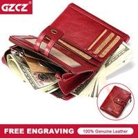 GZCZ Fashion Genuine Leather Women Wallet Zipper Hasp Clutch Wallets Short Wallet Female Drop Shopping Womens