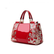 ICEV luxury designer high quality patent split leather womens handbags famous brands lace embroidery messenger bag ladies tote
