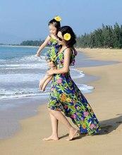 Семьи соответствующие мама и дочь чешский цветочный принт макси платья девочек и женщин шифон пляжные платья девочек