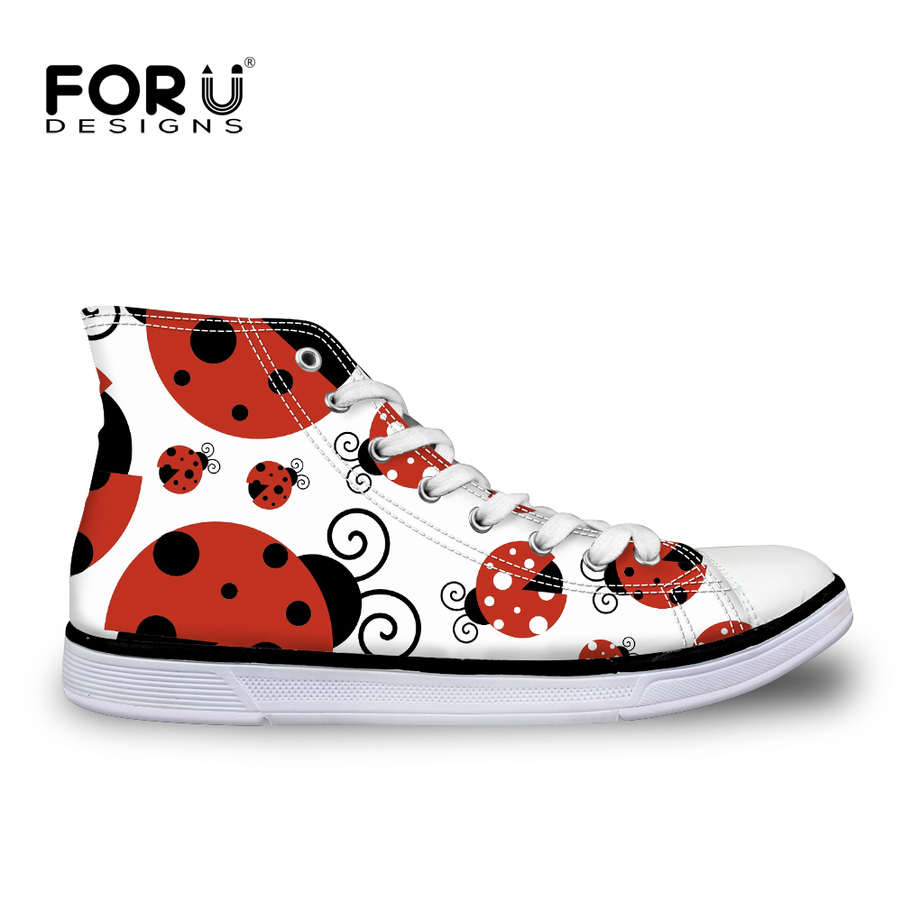 fd918824ab Detail Feedback Questions about FORUDESIGNS Animal 3D Ladybug Fashion  Autumn Women s Canvas Sneakers Casual Flats Lace up High Top Vulcanize Shoes  for ...