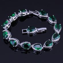 Terrific Pear Green Cubic Zirconia 925 Sterling Silver Link Chain Bracelet 18cm 20cm For Women V0038