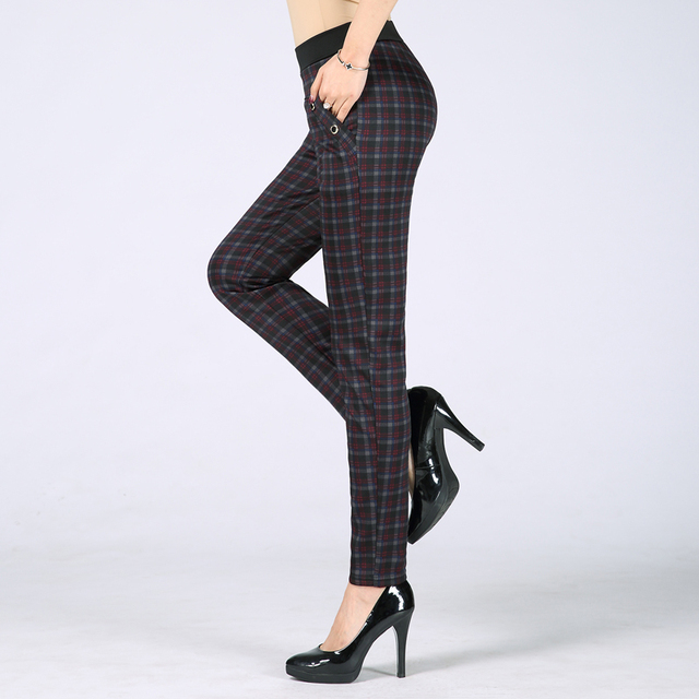 new fashion middle age women spring autumn elastic high waist Pencil Pants mother female office lady Plaid trousers pants