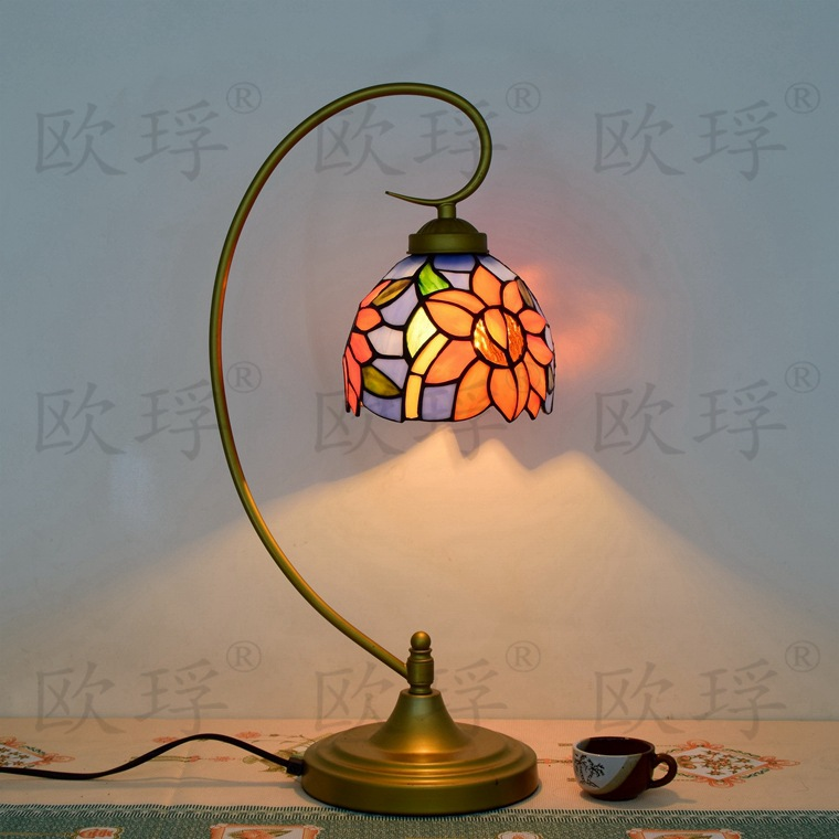 10 Inch sun Flowers Tiffany Table Lamp Country Style Stained Glass Lamp for Bedroom E27 110-240V 16inch antique agate jade dragonfly stained glass lampshade tiffany pendant lamp country style bedside lamp e27 110 240v
