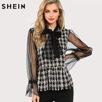 SHEIN Long Sleeve Blouse Women Tops Multicolor Plaid Tie Neck Ruffle Hem Contrast Mesh Sleeve Peplum