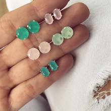 5 Pairs/Set Bijoux Colorful Crystal Stud Earrings Set for Woman Boucle D'oreille Jewelry Wedding 2020 Dazzling Earring Brincos