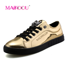 MAIKOOU Hot 2016 New Men Casual Shoes Fashion Metal Sequins Leopard Head Man Flats Shoes Black Silver Gold Chaussure Homme M518