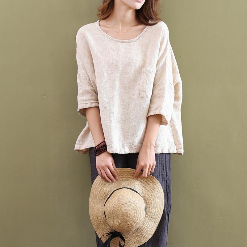 2018 new cotton linen t shirt Women Girls fashion Round Neck 3/4 sleeve casual tshirt Tops girl ladies pokets T-Shirt tee