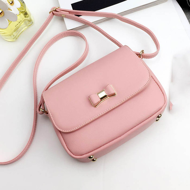 0b9f1e379744 Women Casual Bag Bow Pink Black Red Handbags PU Leather Women's Shoulder  Crossbody Bags Ladies Small Messenger Purse Bags Bolso