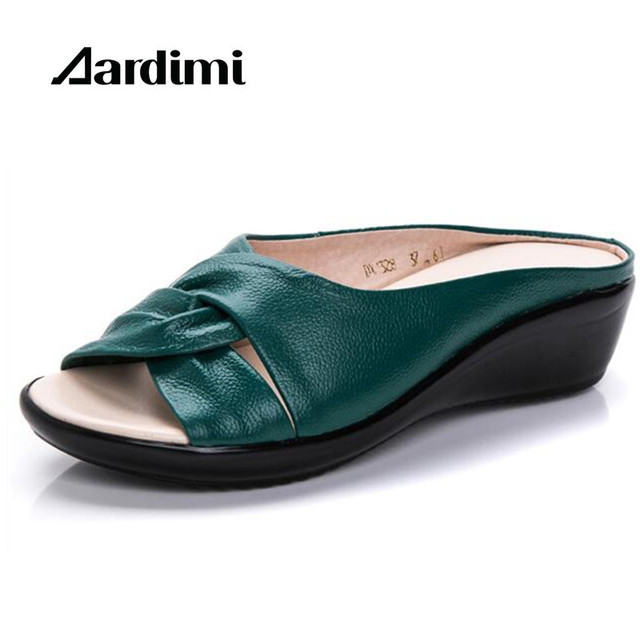 Plus size 35-43 genuine leather shoes woman summer solid women slippers fashion wedges sandals mother shoes flip flops