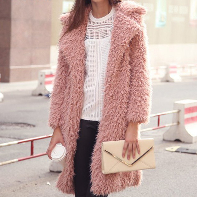 2018 New Artificial Lambs Wool Women Trench Coat Fashion Winter Ladies Pink Long Outwear Coats for Girls Loose Girls Clothing