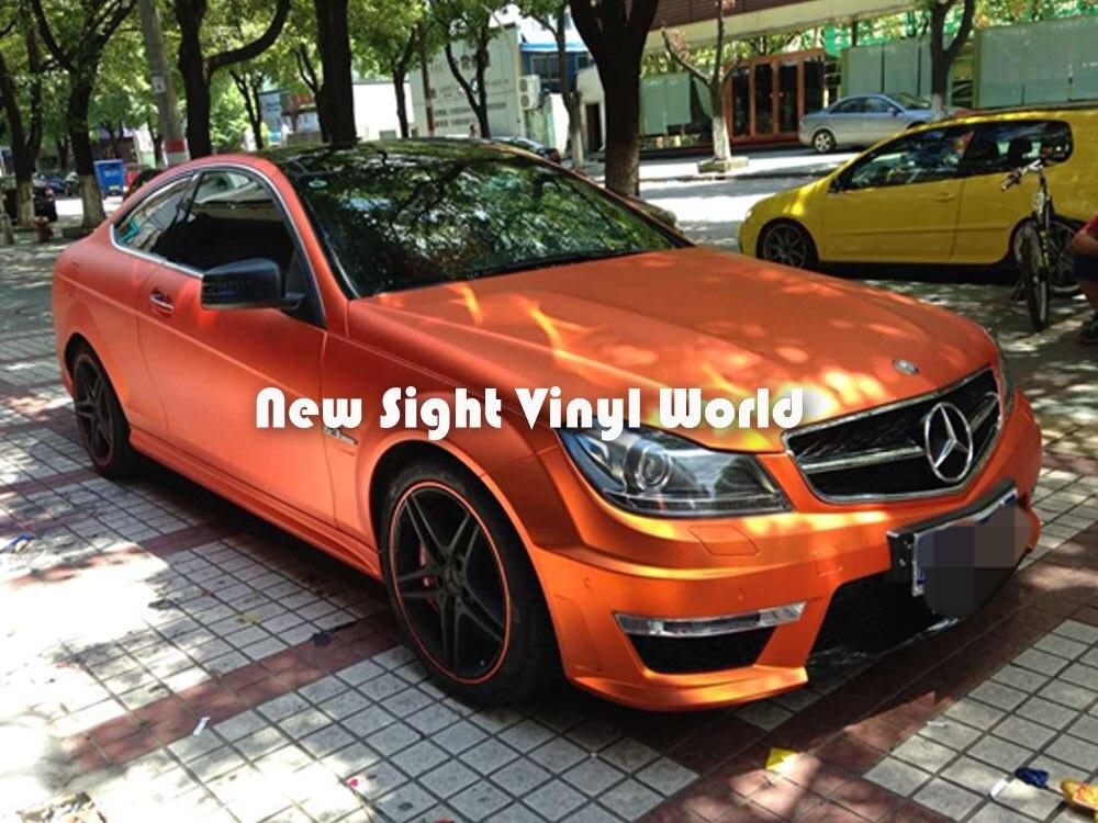 Высокое качество матовый матовый хром оранжевый винил обернуть оранжевый матовый хром обернуть фильм воздуха автомобилей графика Размер:1.52*20 м/рулон