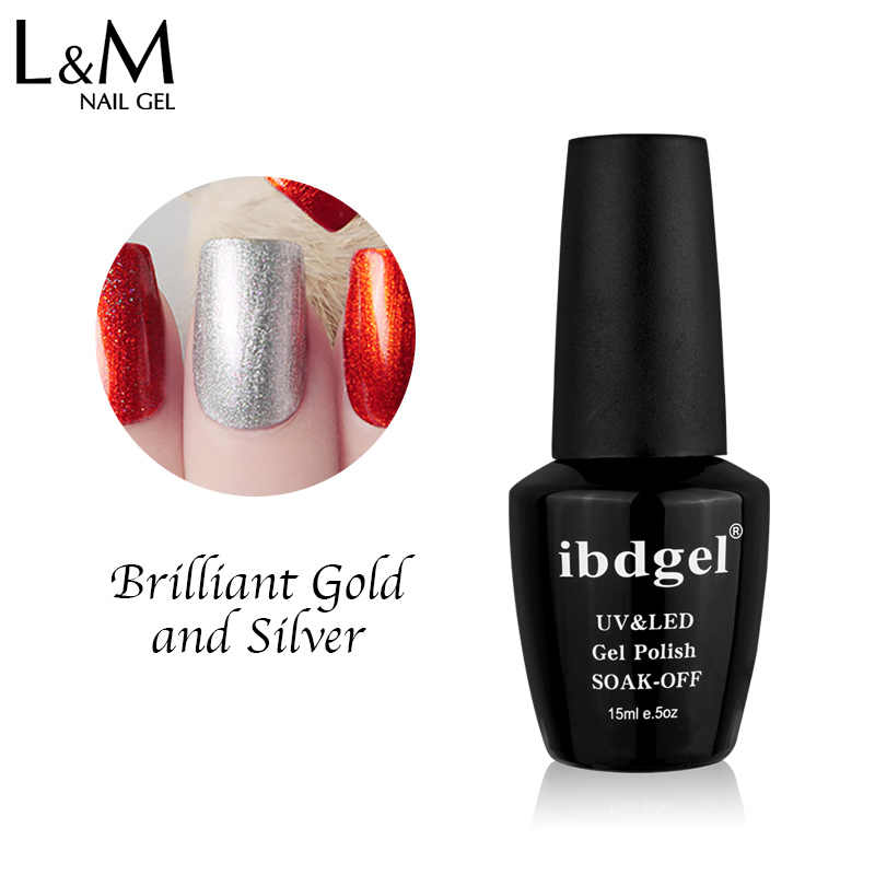 1 PC UV/Dipimpin Rendam Off Ibdgel Merek Brilian Emas dan Perak Glitter Kuku Gel Cat Kuku Gel Hitam botol 15 Ml