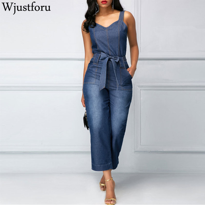 Wjustforu New Fashion Denim   Jumpsuit   Women Wide Leg Spaghetti Strap Bodycon   Jumpsuit   Bandage Rompers Womens   Jumpsuit   Slim Female