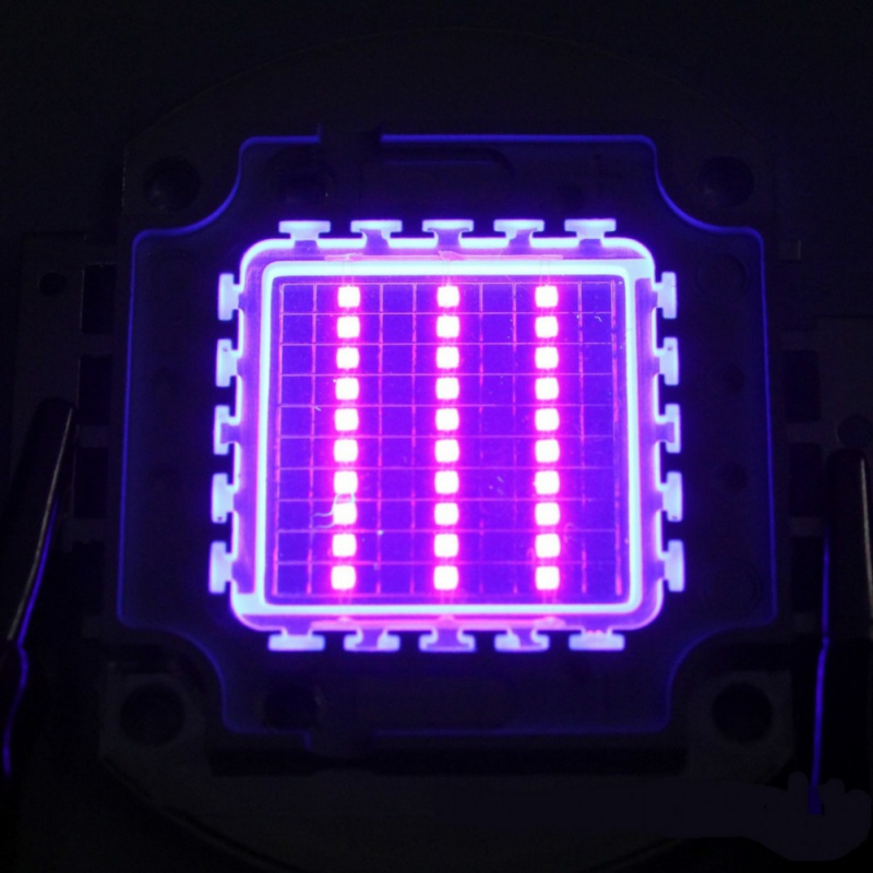 High Power <font><b>Led</b></font> <font><b>Chip</b></font> 100 W Lila Uv (UV 405nm/3000mA/DC 30 v-34 v /100 W) SMD <font><b>COB</b></font> Licht 100 W Ultra Violet Birne Lampe image