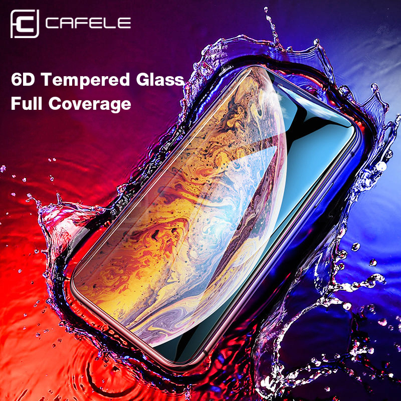 CAFELE 6D Screen protector For iPhone Xr Xs Max Tempered Glass 9H HD Clear Full Cover Protective Glass Film For iPhone xs
