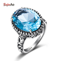 Free Shipping Custom Processing Fashion Unique Roman Style Hollow Out 925 Silver Swiss Natural Sapphire Rings