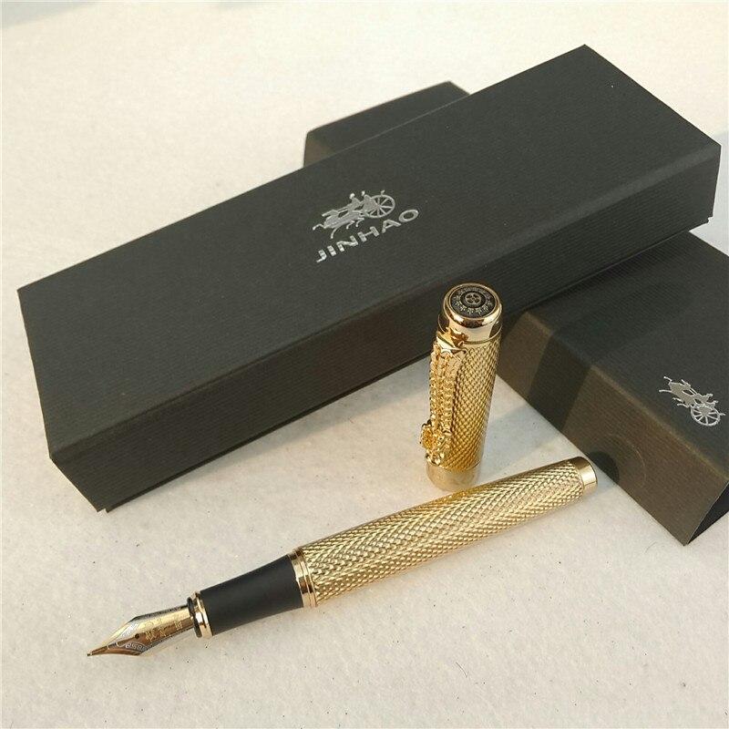 1 teil/los JINHAO 1200 Füllfederhalter Gold Stift Caneta Jinhao Luxus Stifte Feine Feder Füllfederhalter Luxus Schulbedarf 14*1,4 cm