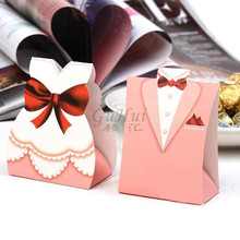 Romantic Wedding European Pink Bridal Bride Groom Tuxedo Candy Box Fashion Gown Dress Shape Sugar Chocolate Case Party Favors(China)