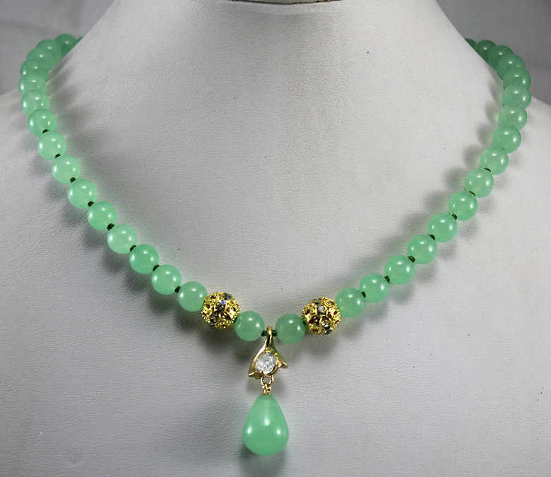2 styles!wholesale/retail 8mm light green jade necklace crystal plated jade pendant