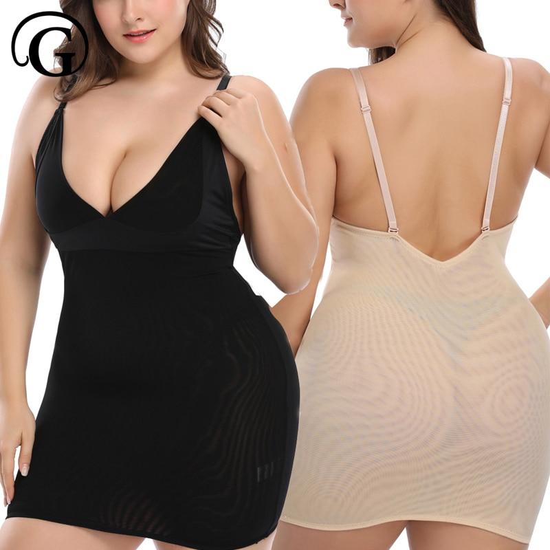 PRAYGER Plus 6XL Deep V Full Slips Butt lifter Slimming Body Shaper Women Dress Full Shapewear Control  Waist Sexy Corset