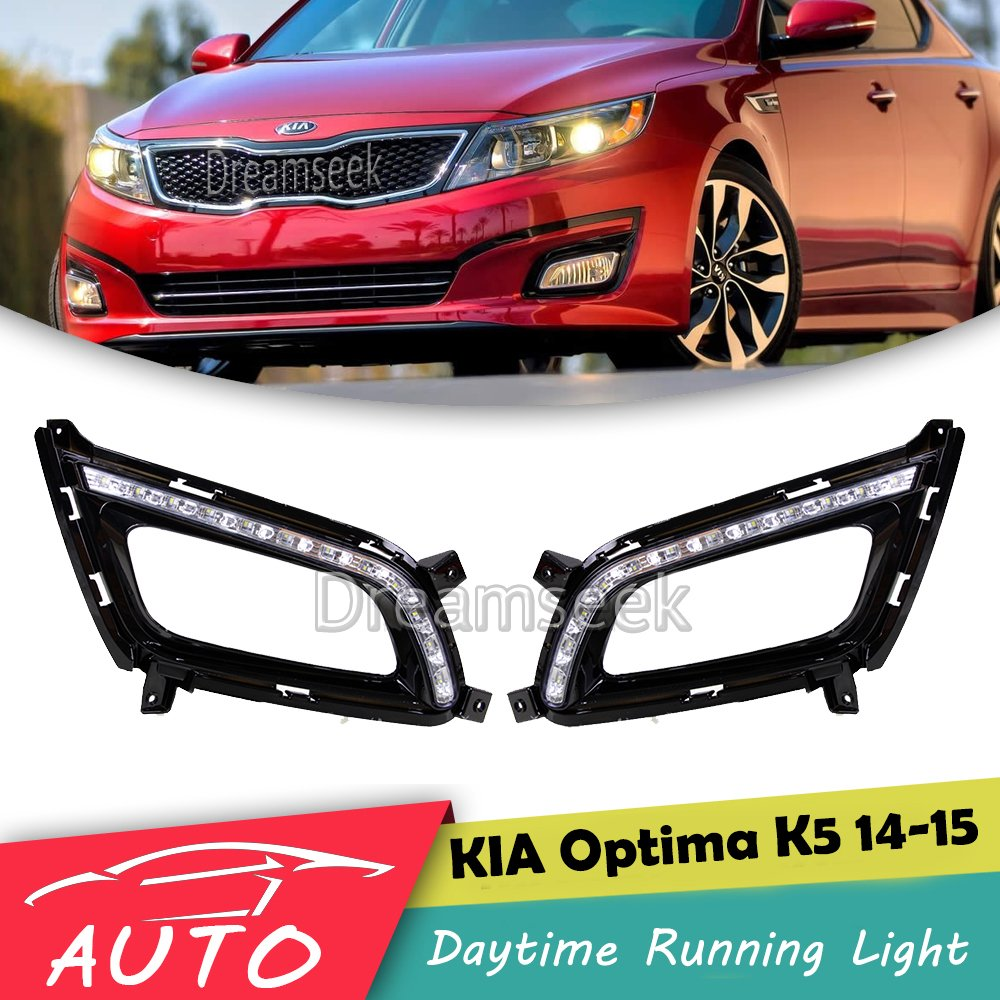 DRL For Kia Optima K5 2014 2015 LED Car Daytime Running Light Relay Waterproof Driving Fog Day Lamp Daylight kalaite car led drl for kia optima k5 2013 2014 2015 daytime running lights for kia optima k5 fog head lamp cover car styling