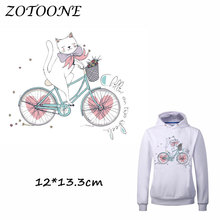 ZOTOONE Cute Bike Cat Patch for Clothing Iron-On Garment Heat Transfer Washable Badges Diy Accessory T Shirt Applique Patches C