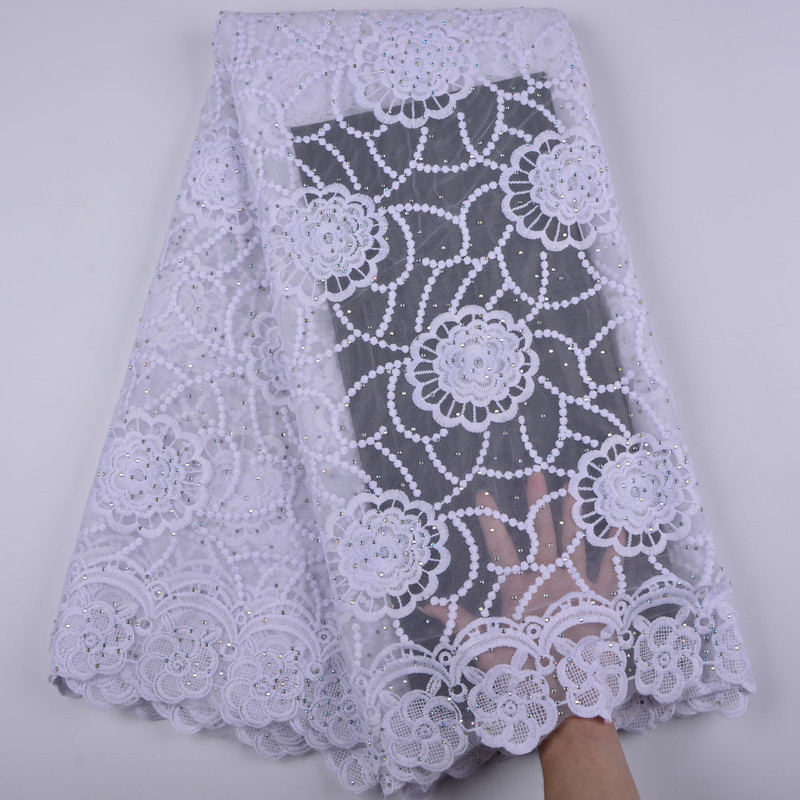 2018 Latest White French Nigerian Laces Fabric High Quality Tulle African Laces Fabric Wedding African French Tulle Lace S1363-in Lace from Home & Garden    1