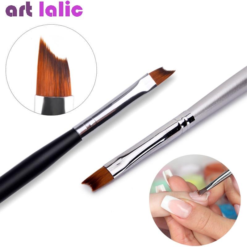 Кисть для ногтей с французским наконечником, серебристая черная ручка, полулунная форма, акриловый УФ-гель для рисования, ручка для рисован...