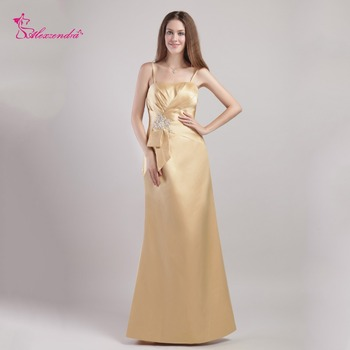Alexzendra Champagne Elegant Long Satin Mother of Bride Dress with Straps Party Evening Gowns Plus Size